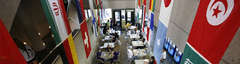 Cafeteria with international flags on walls